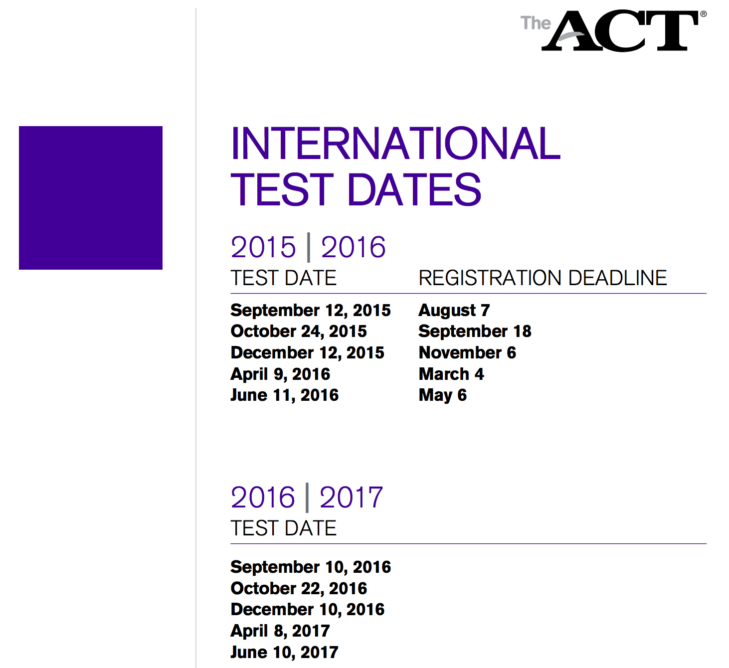 ACT Schedule for College 2016-2017