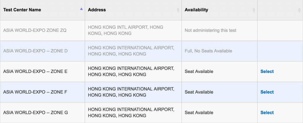 SAT seats Availability in Hong Kong 1