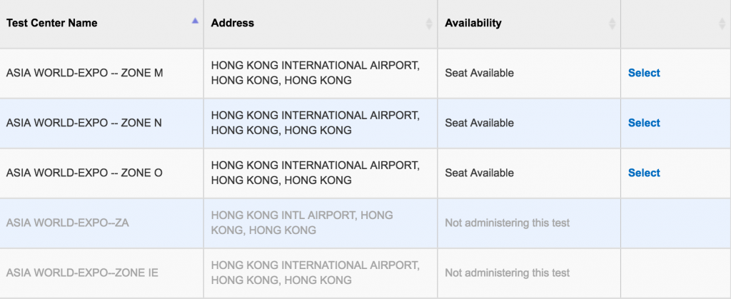 SAT seats Availability in Hong Kong 3