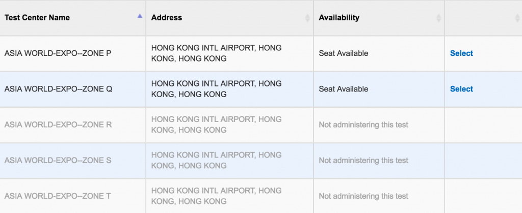 SAT seats Availability in Hong Kong 2