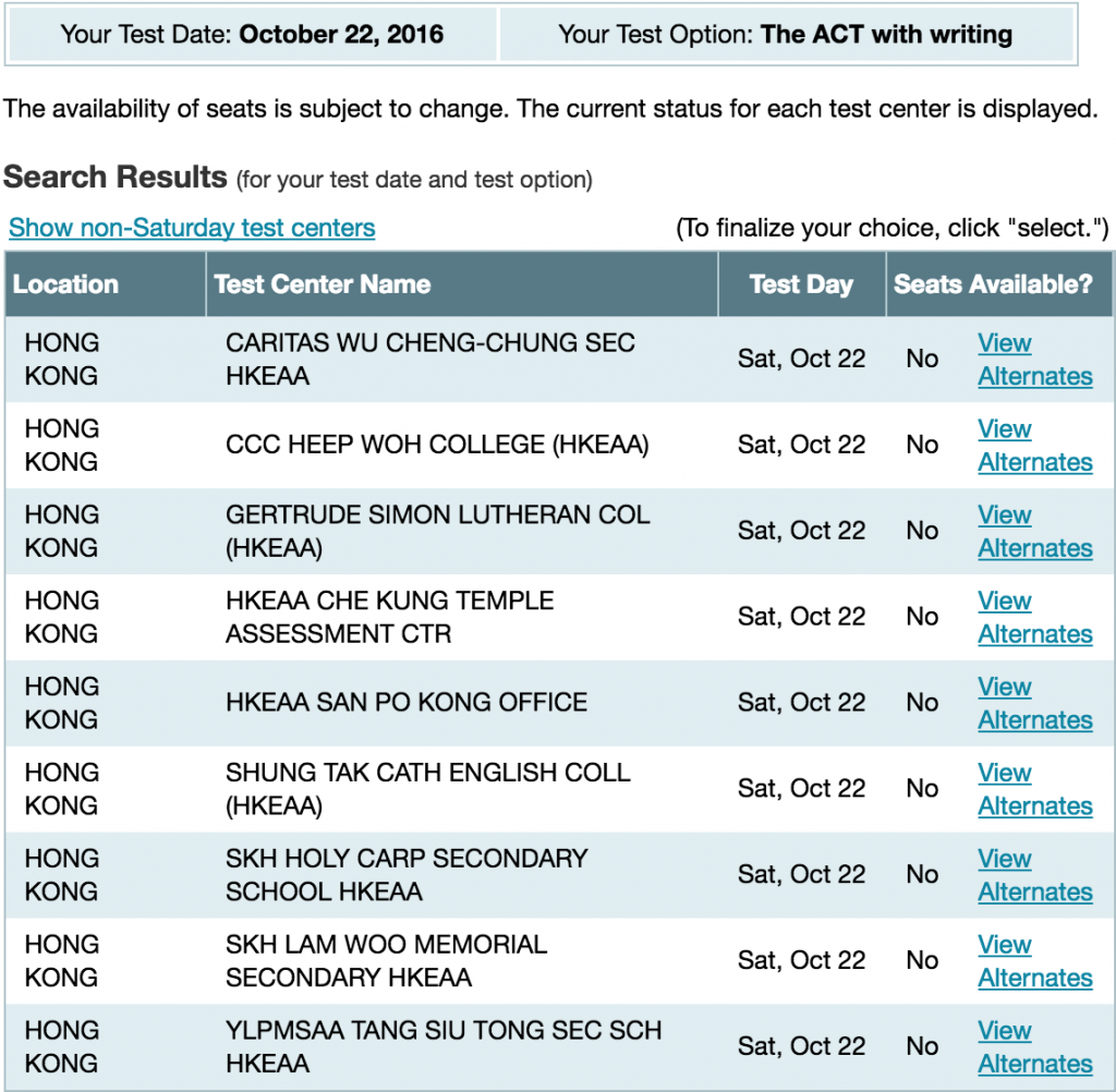ACT Test Dates in October 2016 in Hong Kong